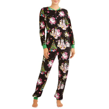 Women's and Women's Plus Christmas Dropseat Union Suit
