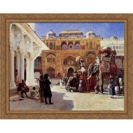 Arrival Of Prince Humbert, The Rajah, At The Palace Of Amber 36x28 Large Gold Ornate Wood Framed Canvas Art by Edwin Lord Weeks ()