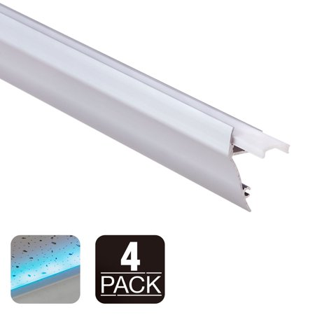 - 3.3ft Wall Mount LED Channel Aluminum Profile for Led Strip Light, Frosted Diffuser, End Caps, Surface Mount, Baseboard, Ceiling Molding, Wall Wash, Pack of 4