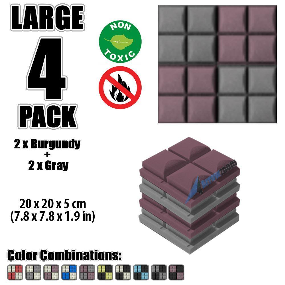 "Arrowzoom New Burgundy and Gray 7.8"" x 7.8"" x 1.9"" Hemisphere Grid Tile Acoustic Studio Sound Absorption Foam, 4-pcs"