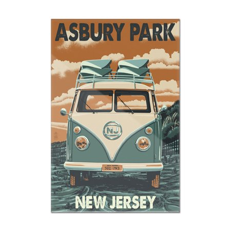 Asbury Park, New Jersey - VW Van Letterpress - Lantern Press Artwork (8x12 Acrylic Wall Art Gallery Quality)