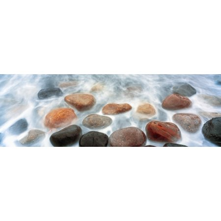 High angle view of stones in ocean Calumet Park Beach La Jolla San Diego California USA Canvas Art - Panoramic Images (27 x
