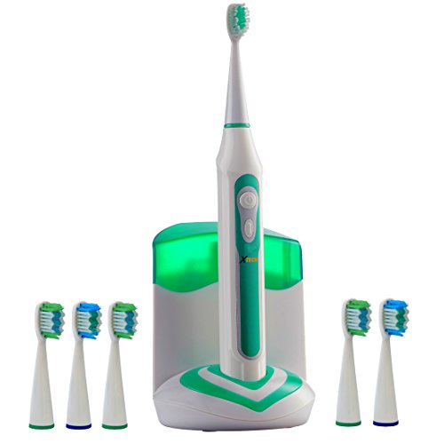 Xtech XHST-100 Oral Hygiene Ultra High Powered 40,000VPM, 5 Brushing Modes, Rechargeable Electric Ultrasonic Toothbrush with Charging Dock & Built-in UV Sanitizer, Includes 6 Brush Heads