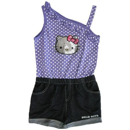 Little Girls Purple Dotted One Shoulder Glittery Applique Romper 4-6X