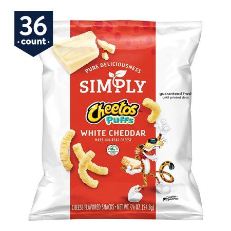 Simply Cheetos Puffs White Cheddar Cheese Flavored Snacks, 0.875 oz Bags, 36 Count (Cheetos Bulk)