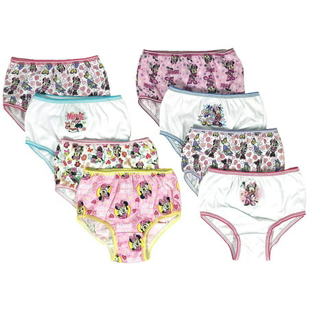 Minnie Mouse Girls Panties Underwear - 8-Pack Toddler/Little Kid/Big Kid Size Briefs Mickey Clubhouse