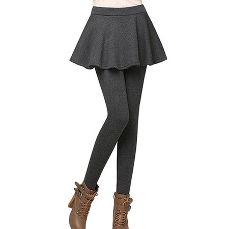 OUMY Women Warm Velvet Leggings Fake Two Piece Thicken Skirts - Skirts Leggings
