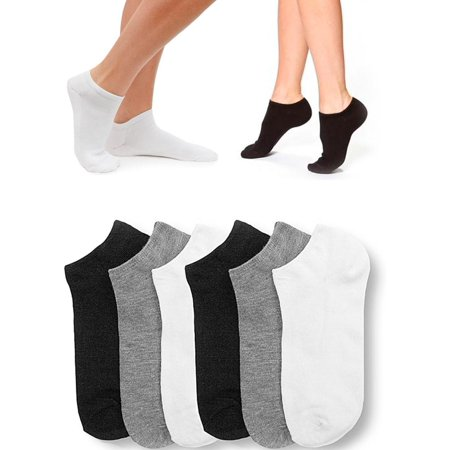 6 Pair Women Ankle Socks Low Cut  Fit Crew Size 9-11 Sport Black White Grey