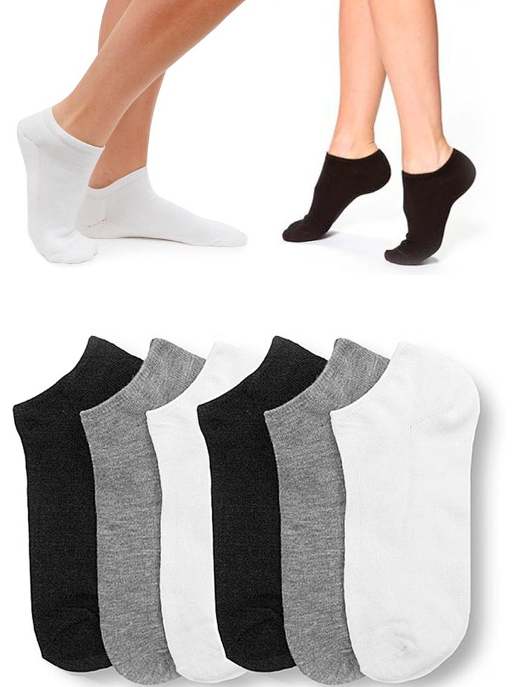 6 Pair Women Ankle Socks Low Cut  Fit Crew Size 9-11 Sport Black White Grey
