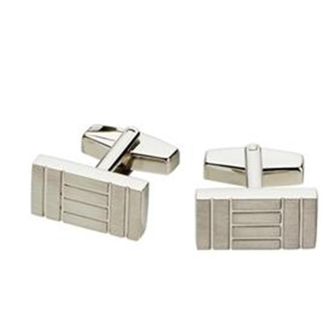Visol VCUFF602 Dominos Stainless Steel Block Design Cufflinks