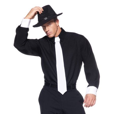 Gangster Mens Adult Plane Black Mobster Halloween Costume Shirt - Woman Gangster Halloween Costumes