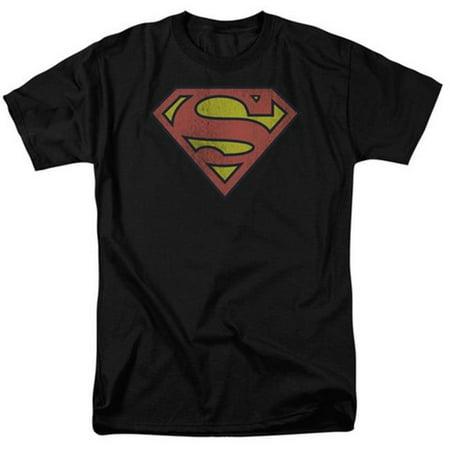 Dc-Retro Supes Logo Distressed - Short Sleeve Adult 18-1 Tee - Black, 5X - image 1 de 1