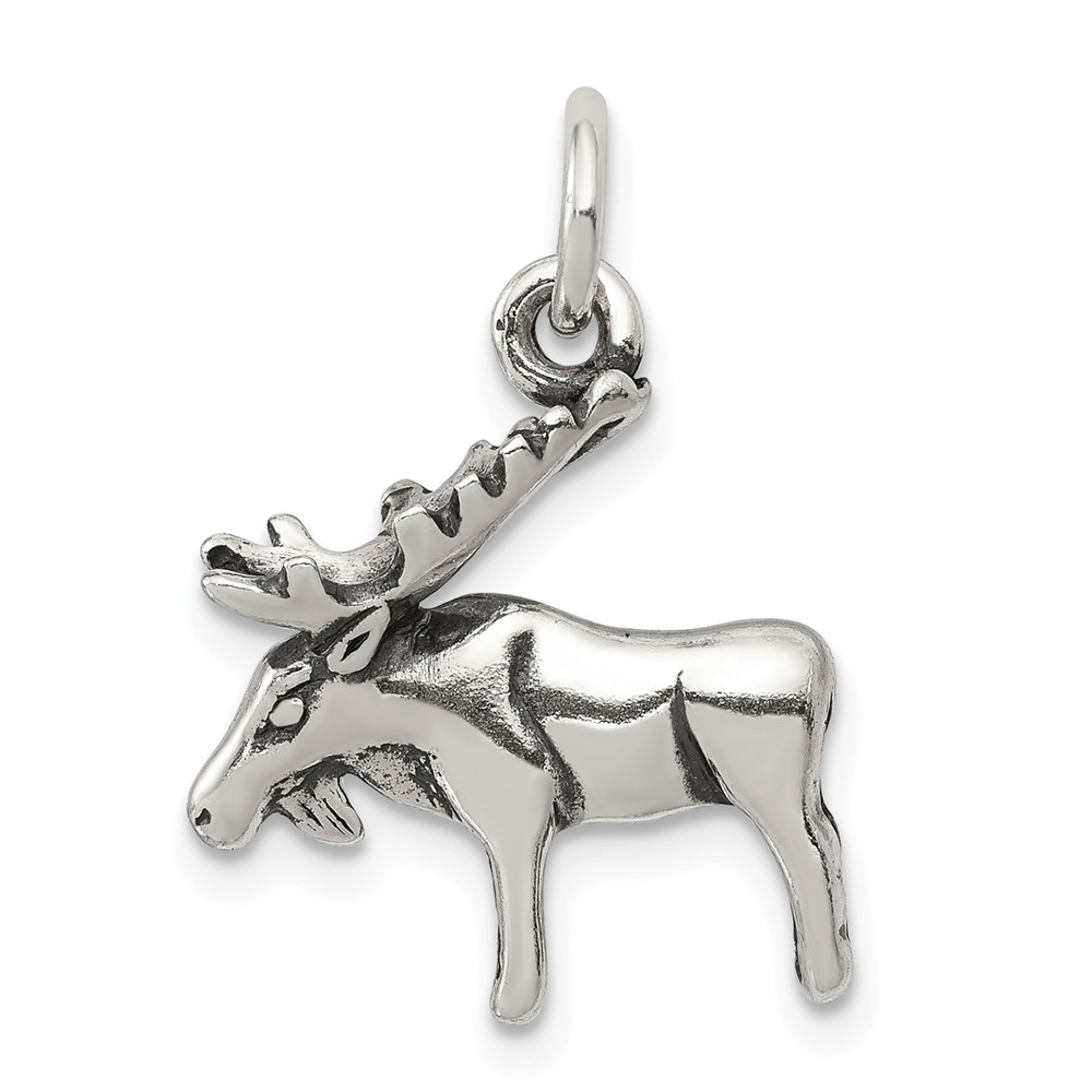 Solid 925 Sterling Silver Antiqued-Style Moose Pendant Charm (17mm x 17mm)