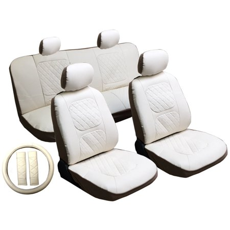 13 Piece Luxury Diamond Stitch Pattern Leatherette Fiat White Seat Cover Set