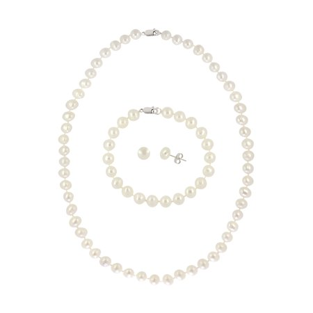 4.5-5mm Freshwater Pearl Sterling Silver Necklace, Bracelet and Earrings 3-Piece (Gorgeous Pearl Set)