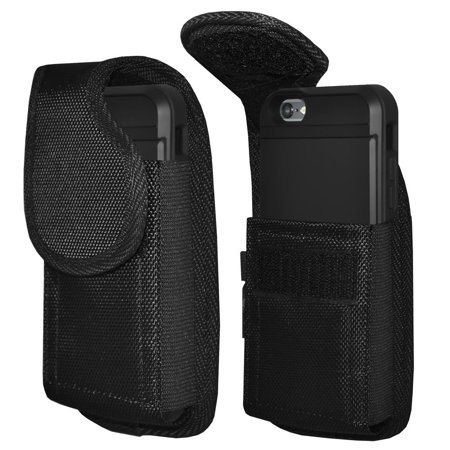 Ballistic Nylon Collection (iPhone 8 Vertical Rugged Heavy Duty Extended Holster Pouch Nylon Case with Belt Clip Fits Otterbox Commuter Defender UAG Ballistic Armor Dual Layer AMZER Crusta)
