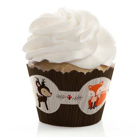 Woodland Creatures - Baby Shower or Birthday Party Cupcake Wrappers - Set of 12 - Halloween Themed Baby Shower Cupcakes