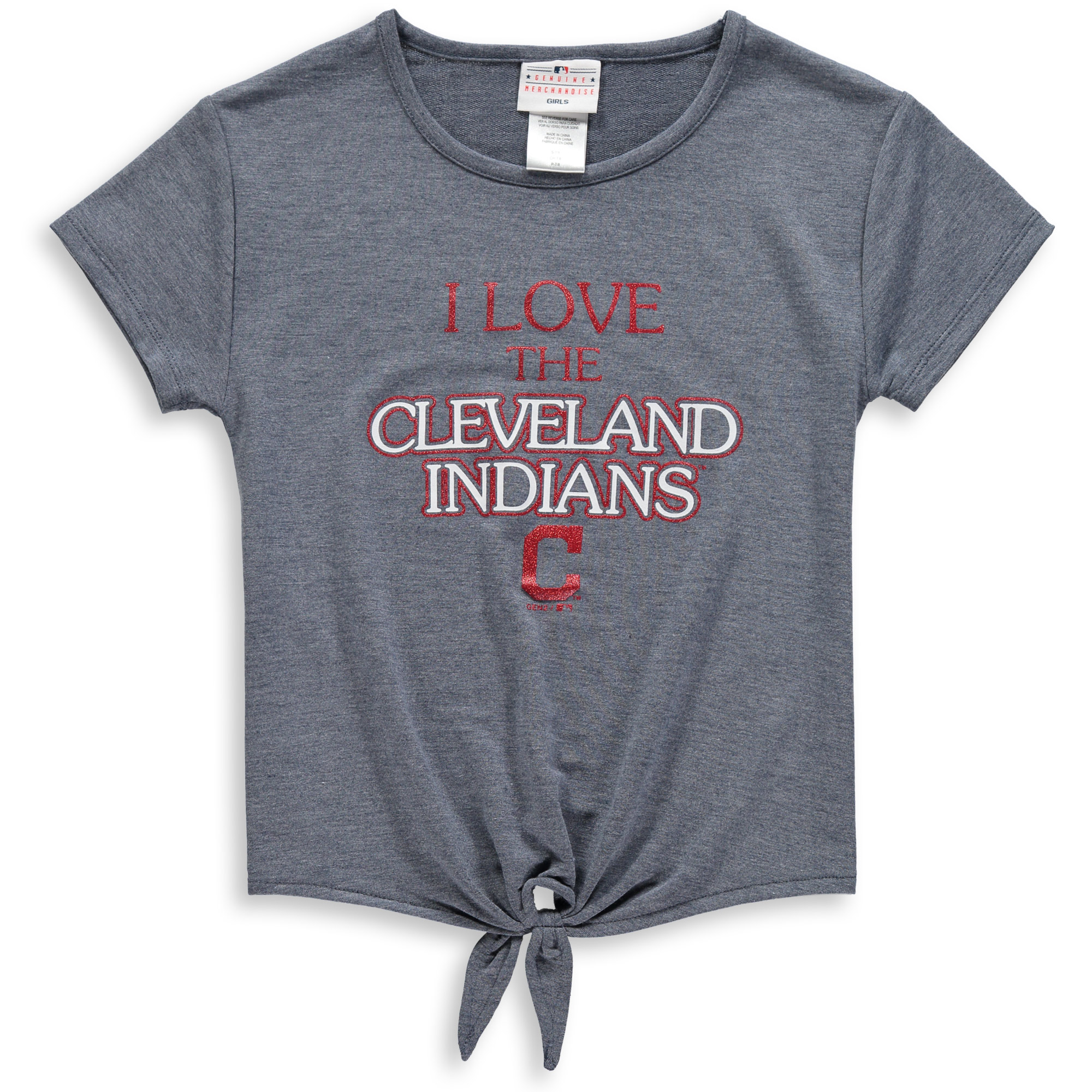 Cleveland Indians Girls Youth True Love Tie Bottom Tri-Blend T-Shirt - Heathered Navy