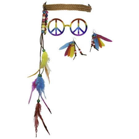 3 Piece Rainbow Hippie Costume Kit w/ Headband, Earrings & (Three's Company Costumes Ideas)
