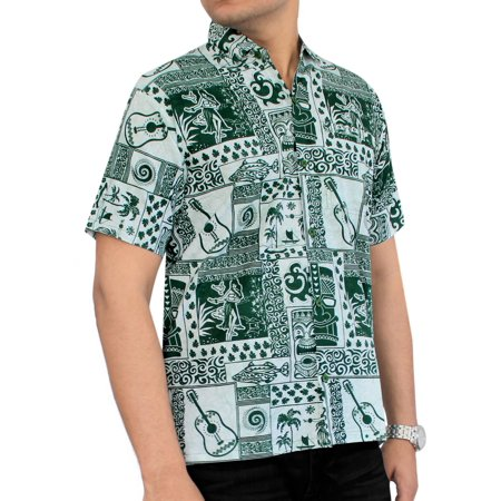6a23bb1cb Hawaiian Shirt Mens Beach Aloha Camp Party Holiday Short Sleeve Pocket  Guitar Print Cotton