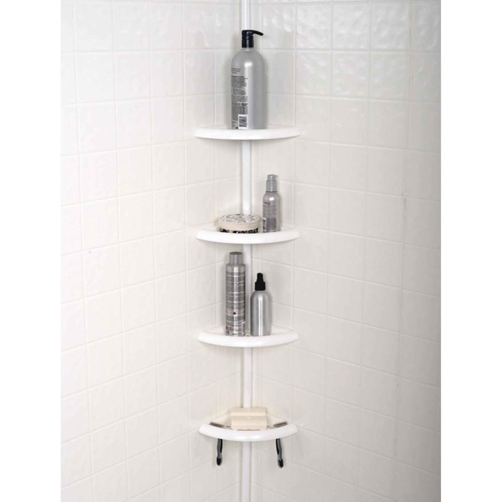 Zenna Home 2104W, Bathtub and Shower Pole Caddy, White