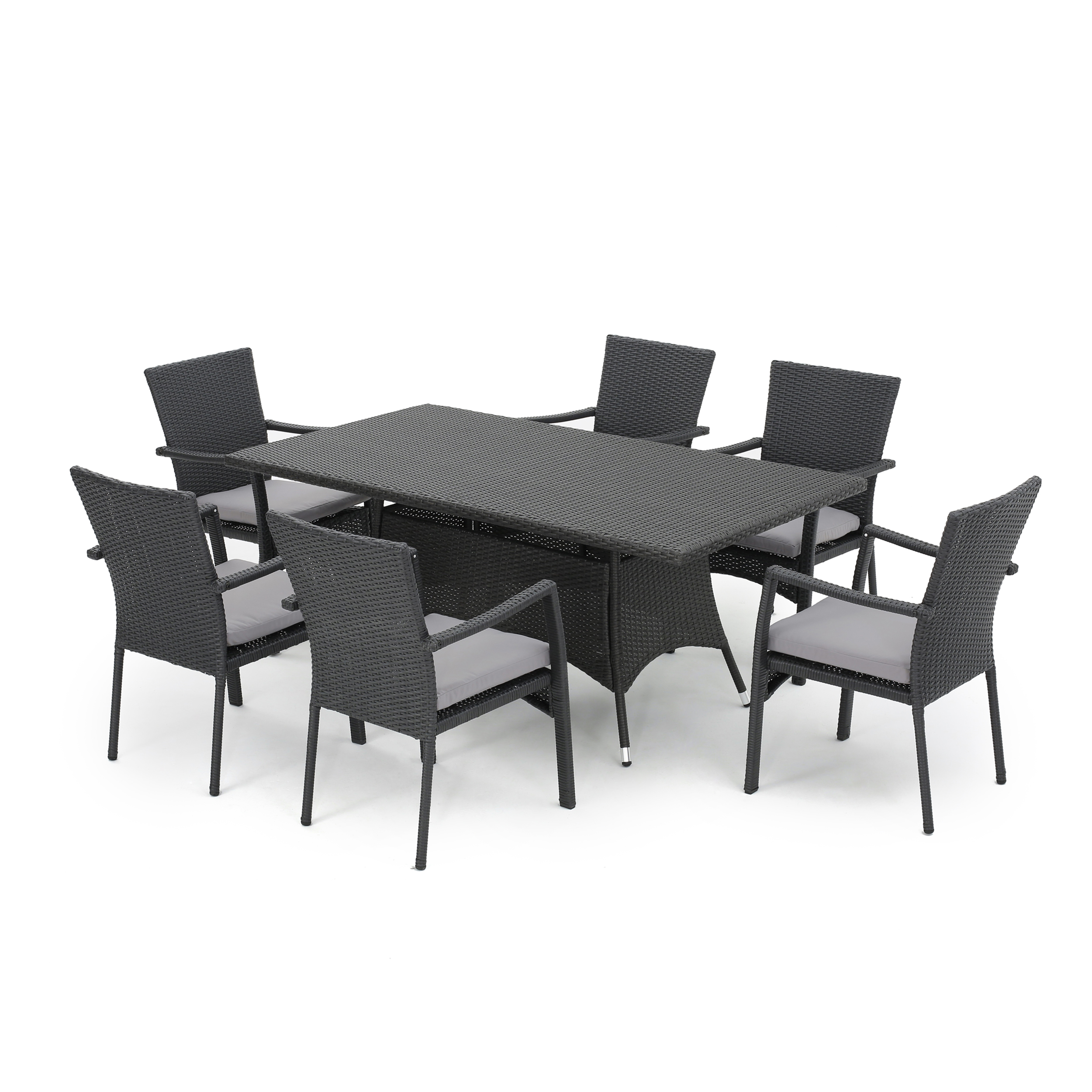 Tompkins 7 Piece Wicker Rectangular Dining Set, Grey