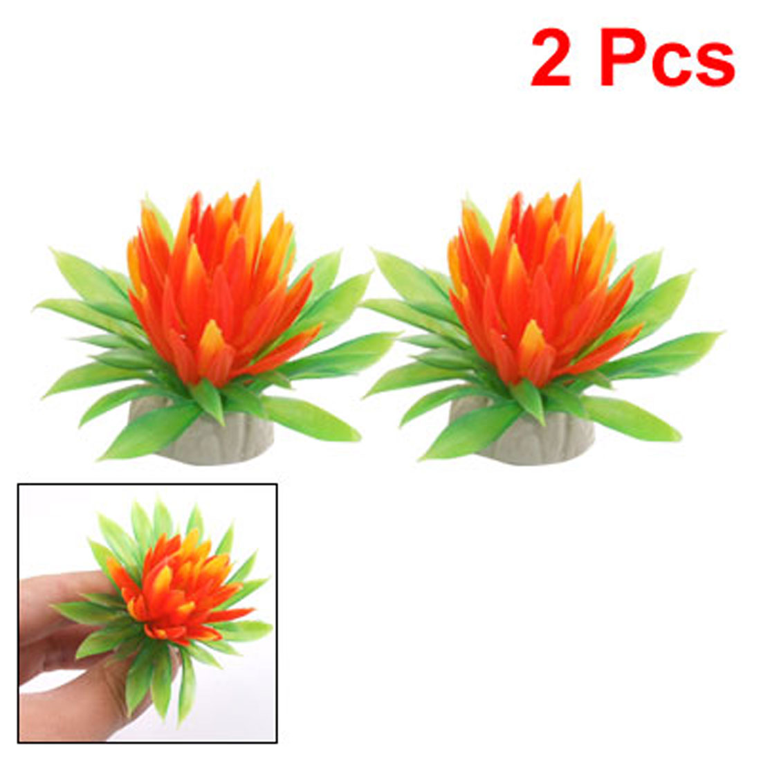 2 Pcs Plastic Underwater Ornament Lotus Plant for Tank Aquarium