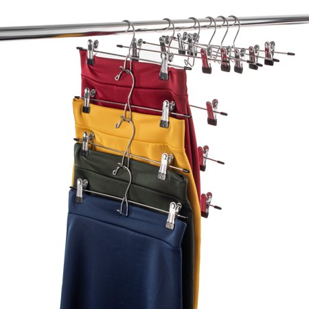 ShopoKus Metal Cascading Pants Hanger (Set of 12) with Non-Slip Clips for Jeans Shorts (12 Cable Hanger)