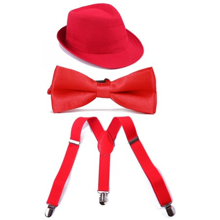 HDE Kid's Funky Design Solid Color Adjustable Elastic Clip Suspenders with Pre-tied Microfiber Neck Strap Bow tie and Short Brim Trilby Fedora Hat
