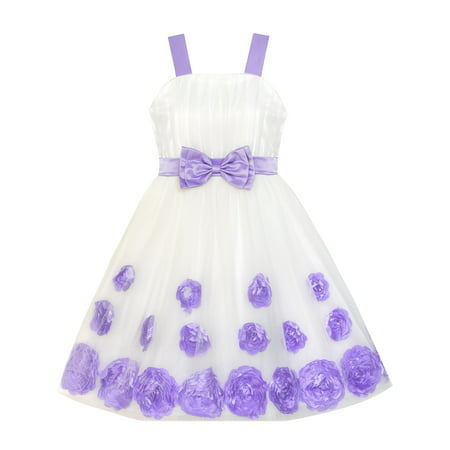 Flower Girl Dress Purple Bow Tie Pageant Wedding 5