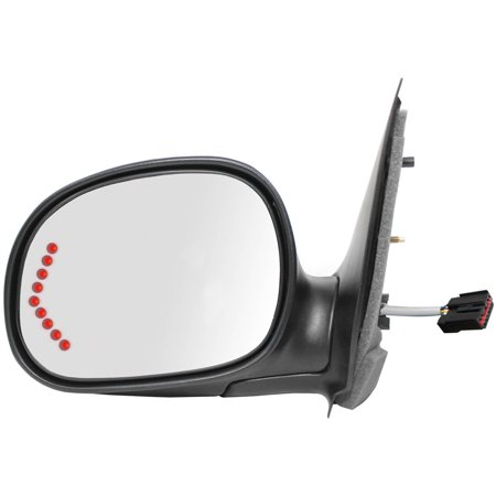 61206F - Fit System Driver Side Mirror for 98-03 Ford F150 Pick-Up, 98-99 F250 LD Pick-Up, LED Arrow Turn Signal, black w/ PTM cover, foldaway, Power (Will not fit on (Black Crew Cab Models)