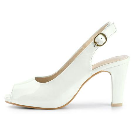 Women's Peep Toe Dress Slingback Chunky Heel Pumps White US 7 - image 6 de 7