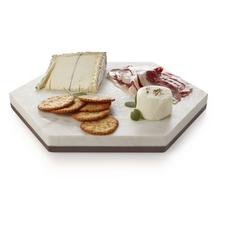 Libbey Urban Story Wood and Marble Flip Tray, 10-inch