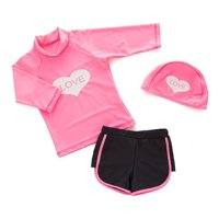 Styles I Love Kid Girls Chic Rash Guard Swimsuit Pool Party Swim Wear Beach Bathing Suit (Mickey Mouse 3pcs, 130/5-6 Years)