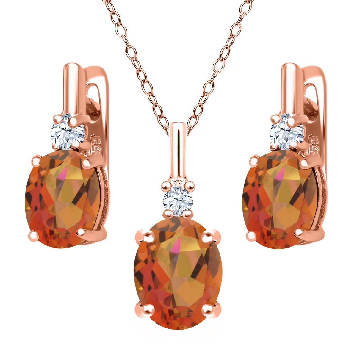 6.98 Ct Twilight Orange Mystic Quartz White Topaz 18K Rose Gold Plated Silver Pendant Earrings Set by
