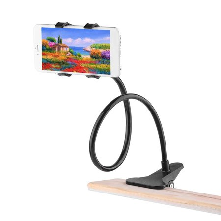 Universal Phone Holder Bracket with Charger Cable and Long Arm Clip on Desk Bed Kitchen Overall Length 37.4in Phone and Ipad Lazy Stand - image 9 of 9