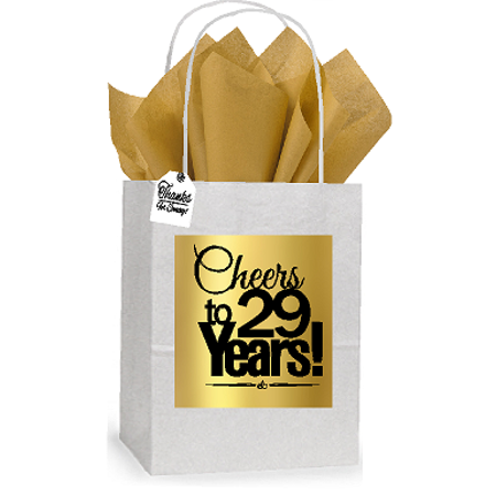 29th Cheers Birthday / Anniversary White and Gold Themed Small Party Favor Gift Bags Stickers Tags -12pack