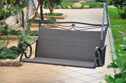 Valencia Resin Wicker with steel Frame Double Patio Swing Loveseat (Antique Black) by