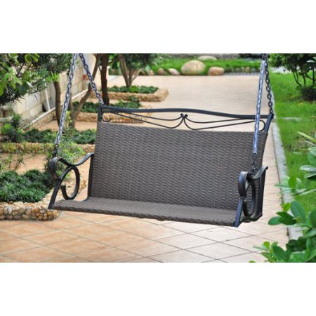 Valencia Resin Wicker with steel Frame Double Patio Swing Loveseat (Antique Black) ()