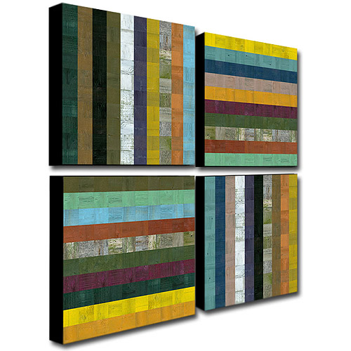"""Trademark Fine Art """"Wooden Abstract V"""" Four Canvas Wall Art by Michelle Calkins, 24x24"""