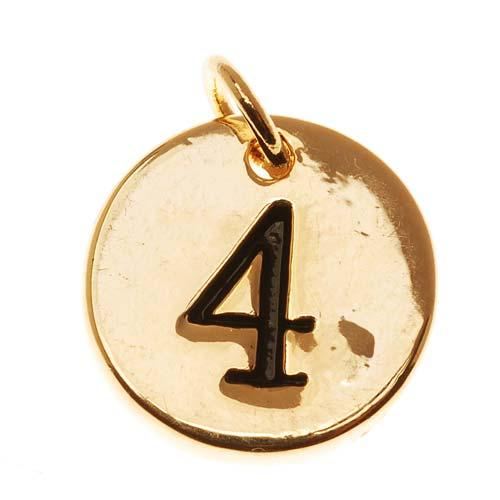 Lead-Free Pewter, Round Number Charm '4' 13mm, 1 Piece, Gold Plated