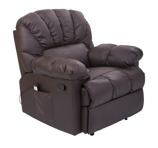 HomCom PU Leather Vibrating Massage Rocking Sofa Chair Recliner - Brown