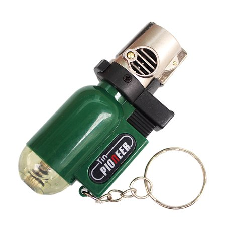 Cigarette Accessories Pendant Torch Cigar Lighter Refillable Windproof Cylindrical Shape Butane Gas Lighters Transparent with Butane Window (NO GAS Green)