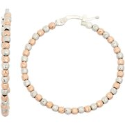 Rose Gold- and Rhodium-Plated Sterling Silver 30mm DC Beaded Hoop Earrings