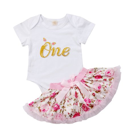 Newborn Baby Girl Outfit Sets Short Sleeve Letter Print Romper and Lace Flower Tutu Skirt 2 Piece Clothing - Flower Short Set