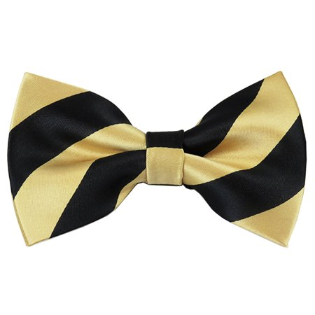 Gold College Stripe (Black and Honey Gold College Stripe Pre-Tied Bow Tie)
