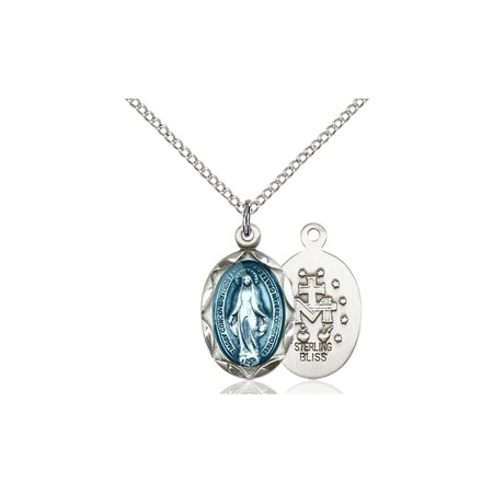 Solid 925 Sterling Silver Miraculous Immaculate Conception Virgin Saint Mary 3 4 X 3 8  Medal Pendant On A 18 Sterling Silver Curb Chain Necklace Gift Boxed