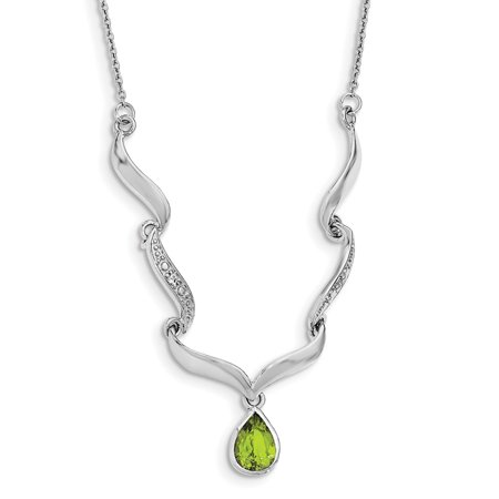 White Sterling Silver necklace Gemstone Peridot Green Topaz