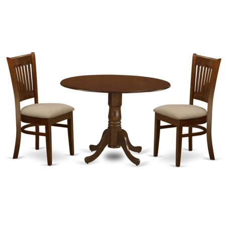 East West Furniture 3 Piece Empire Drop Leaf Dinette Dining Table Set ()