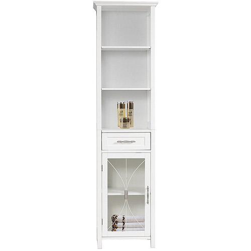 Napoleon Linen Tower with One Door and Three Open Shelves, White ...